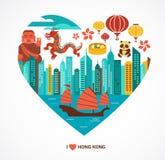 Hong Kong-liefdeachtergrond en vectorillustratie vector illustratie