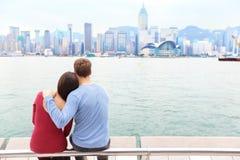 Hong Kong linia horyzontu i Wiktoria schronienie - para Zdjęcie Royalty Free