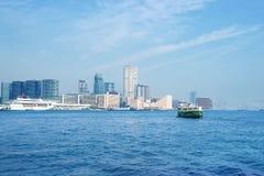 Hong Kong linia horyzontu i zatoka Obrazy Royalty Free