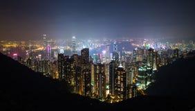 Hong Kong linia horyzontu od szczytu Zdjęcie Royalty Free