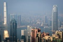 Hong Kong linia horyzontu od szczytu, Chiny obraz royalty free
