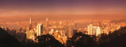 Hong Kong linia horyzontu od Wiktoria szczytu fotografia stock