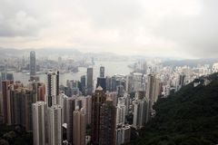 Hong Kong linia horyzontu od Wiktoria szczytu obrazy royalty free