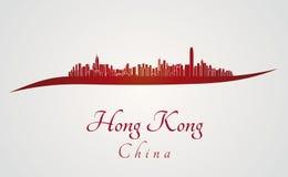 Hong Kong linia horyzontu w czerwieni ilustracji