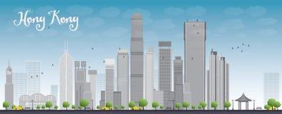 Hong Kong linia horyzontu z niebieskim niebem i taxi ilustracja wektor