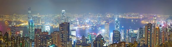 Hong Kong linii horyzontu noc Zdjęcie Stock