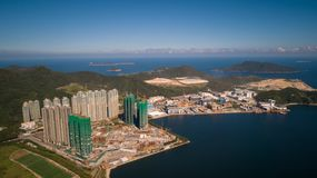 Hong Kong Lohas Park and Industrial Estate droneview. Hong Kong Lohas Park and Industrial Estate drone view sunny Stock Image