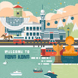 Hong Kong loppbegrepp stock illustrationer