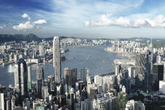 Hong Kong in low saturation. Hong Kong city in low saturation Stock Photo