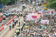 Hong Kong 1° luglio marcia 2014 Fotografie Stock Libere da Diritti