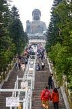 HONG KONG, Luty - 06, 2015: Tian dębnika gigant Buddha od Po Li Zdjęcie Stock