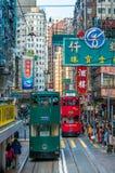 HONG KONG - März, 14, 2009 Doppeldecker-Straßenbahn in Hong Kong-stre Lizenzfreie Stockbilder