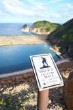Hong Kong MacLehose Trail Signage and High Island Reservoir stock photography