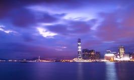 Hong Kong Magic Hour. Hong Kong Skyline at night Stock Photo