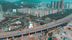 Hong Kong, Maj - 1, 2018: Widok z lotu ptaka nowożytny portowy zbiornika śmiertelnie Import i eksport, biznes logistycznie zdjęcie wideo