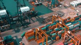 Hong Kong, Maj - 1, 2018: Widok z lotu ptaka nowożytny portowy zbiornika śmiertelnie Import i eksport, biznes logistycznie zbiory wideo