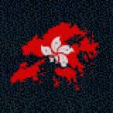 Hong Kong map flag on hex code illustration. Retro 8 bit pixellated Hong Kong map flag on hex code illustration Royalty Free Stock Images
