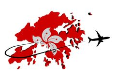 Hong Kong map flag with plane and swoosh illustration Stock Photography