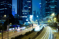 Hong Kong - March 13: Central district at night, March 13, 2012. Commercal central district of Hong Kong at night stock photography