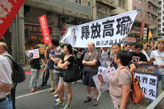 2015 Hong Kong march event of 26th anniversary of Tiananmen Square protests of 1989 Royalty Free Stock Photo