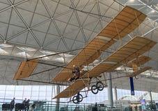 Interior of the Hong Kong International Airport. HONG KONG - MARCH 2017: A 1910 Farman biplane replica at the Hong Kong International Airport. It is the main Royalty Free Stock Images