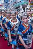 The 14th Tai Kok Tsui temple fair in Hong Kong. HONG KONG - MARCH 04 : Participants in the 14th Tai Kok Tsui temple fair in Hong Kong on March 04 2018. The Royalty Free Stock Photography