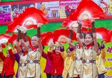 The 14th Tai Kok Tsui temple fair in Hong Kong. HONG KONG - MARCH 04 : Participants in the 14th Tai Kok Tsui temple fair in Hong Kong on March 04 2018. The Stock Images