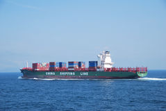 Hong Kong, May, 21, 2010 - Container vessel enteri Royalty Free Stock Photo