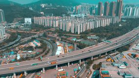 Hong Kong - May 1, 2018: Aerial view of a modern port container terminal. Import and export, business logistic. Arbor cranes and large ships stock video footage