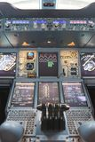 Emirates Airbus A380. HONG KONG - MAY 12, 2016: cockpit of Emirates Airbus A380. Emirates is one of two flag carriers of the United Arab Emirates along with Royalty Free Stock Image