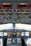 Emirates Airbus A380. HONG KONG - MAY 12, 2016: cockpit of Emirates Airbus A380. Emirates is one of two flag carriers of the United Arab Emirates along with Stock Photography