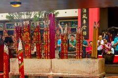 Big red incense sticks in Che Kung Temple, Hong Kong. Hong Kong - May 20, 2017, Editorail use only;Big red incense sticks in Che Kung Temple, Hong Kong stock photography