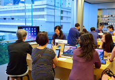 Apple store. HONG KONG - MAY 5, 2015:  interior of Apple store. Apple Inc. is an American multinational technology company headquartered in Cupertino, California Royalty Free Stock Images
