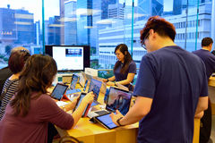 Apple store. HONG KONG - MAY 5, 2015:  interior of Apple store. Apple Inc. is an American multinational technology company headquartered in Cupertino, California Stock Photography