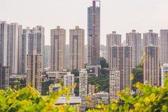 Hong Kong - Mei, 25, 2017 Gestemd beeld van moderne bureaugebouwen in centraal Hong Kong Stock Foto