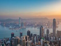 Hong Kong-mening in de ochtendtijd Royalty-vrije Stock Foto's