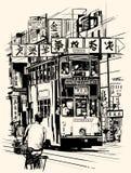 Hong Kong met een tramspoor royalty-vrije illustratie