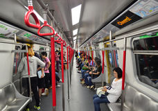 Hong Kong Metro. Passengers inside a subway train on November 9, 2013 in Hong Kong MTR. It is the most popular transport in Hong Kong royalty free stock images