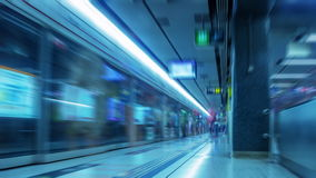 Hong Kong. Metro. Time Lapse UHD. Hong Kong. The subway platform. Unreadable posters and unrecognizable people. Time lapse UHD stock footage