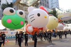 Hong Kong: Międzynarodowa Chińska nowy rok nocy parada 2016 Obrazy Stock