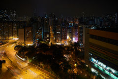 Hong Kong miasta nocy widok w Tsim Sha Tsui Obraz Stock