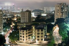 Hong kong miasta w nocy Zdjęcia Royalty Free
