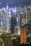 Hong Kong miasto przy nocą, perła ukierunkowywający zdjęcia stock