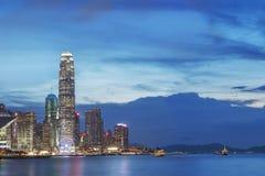 Hong Kong miasto przy półmrokiem Fotografia Stock