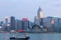 Hong Kong miasto, widok od Wiktoria schronienia Zdjęcie Stock