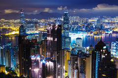 Hong Kong mid night Royalty Free Stock Images