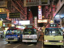 Minibuses in Hong Kong City Royalty Free Stock Photo