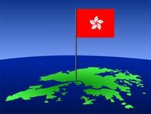 Hong Kong mit Markierungsfahne lizenzfreie abbildung