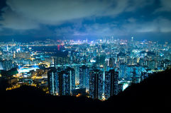 Hong Kong Modern Buildings at Night Royalty Free Stock Photography