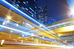 Hong kong modern city High speed traffic. And blurred light trails Royalty Free Stock Photos